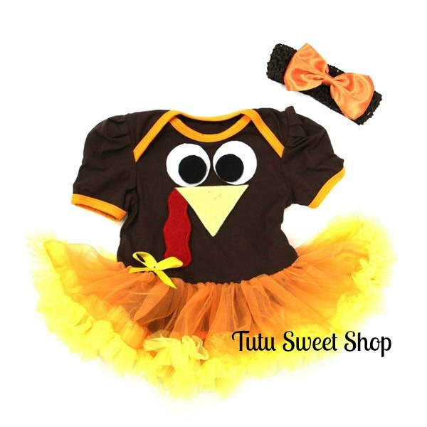 2 Piece Turkey Face Thanksgiving Baby Tutu Outfit