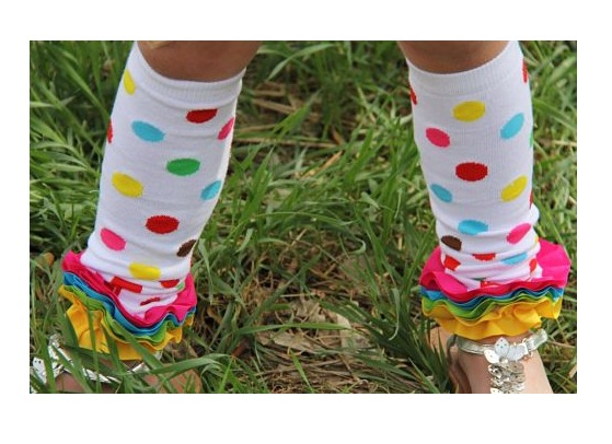 Candy Dots Ruffled Legwarmers