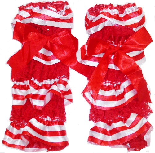 Girls Candy Cane Lace Christmas Legwarmers