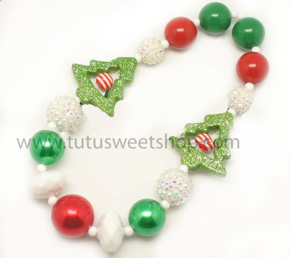 Oh Christmas Tree Gumballs Holiday Chunky Girls Necklaces