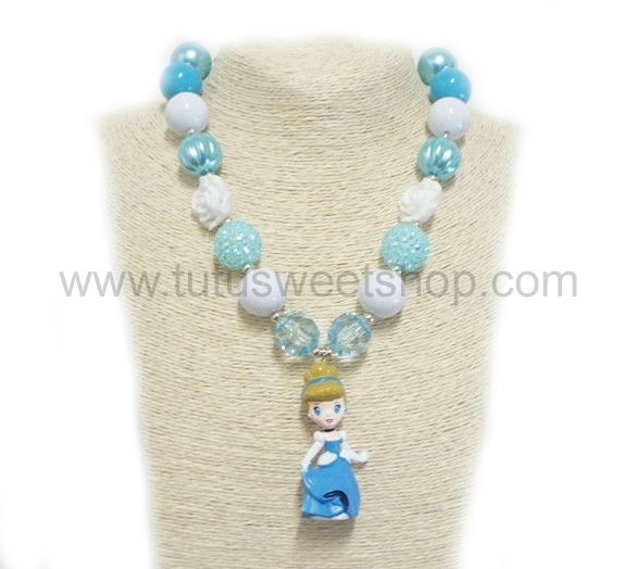 Princess Cinderella Inspired Gumballs Chunky Girls Necklaces