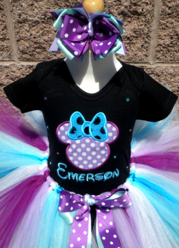 Custom Purple, Blue and Black Polka Dot Girl Mouse Birthday Outfit For Girls