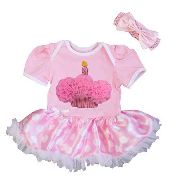 Pink Dots 1st Birthday Cupcake 2 Piece Onesie Baby Tutu Outfit