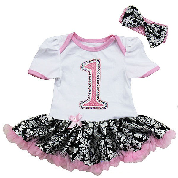 Pink Glitter Number One 1st Birthday 2 Piece Onesie Baby Tutu Outfit