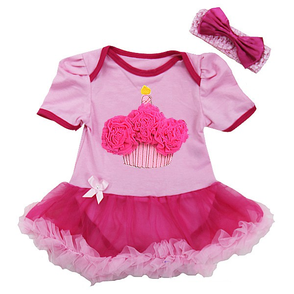 Two Tone Pink 1st Birthday Cupcake 2 Piece Onesie Baby Tutu Outfit