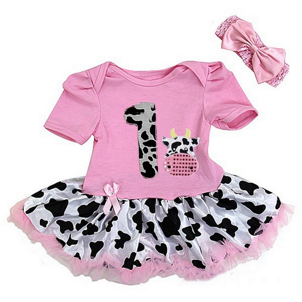 Pink Cow Print 1st Birthday 2 Piece Onesie Baby Tutu Outfit