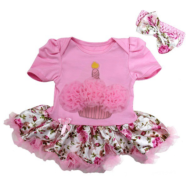 Floral 1st Birthday Cupcake 2 Piece Onesie Baby Tutu Outfit