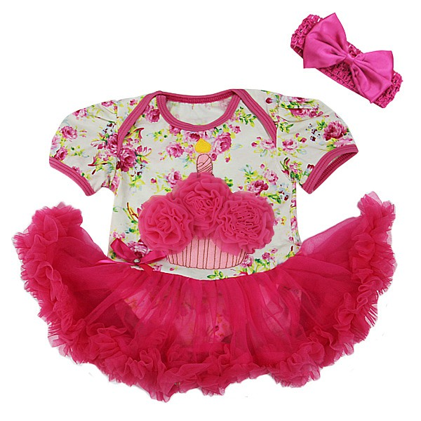 Hot Pink Floral 1st Birthday Cupcake 2 Piece Onesie Baby Tutu Outfit