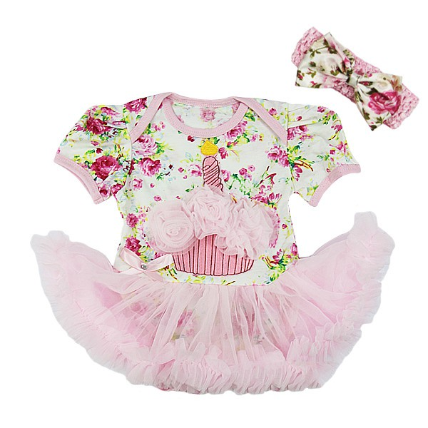 Pink Floral 1st Birthday Cupcake 2 Piece Onesie Baby Tutu Outfit