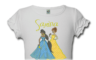 Belle and Jasmine Personalized Girls Birthday Shirts
