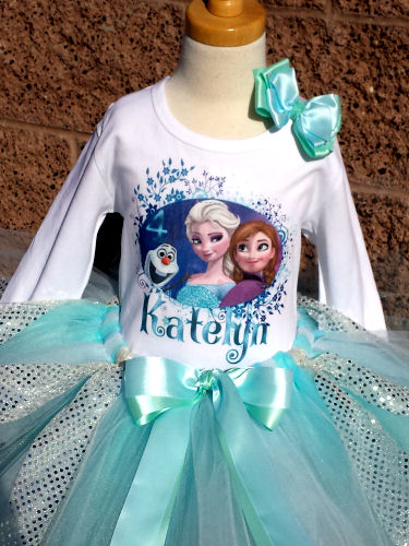 Customized Frozen Sparkle Inspired Girls Birthday Shirt Only