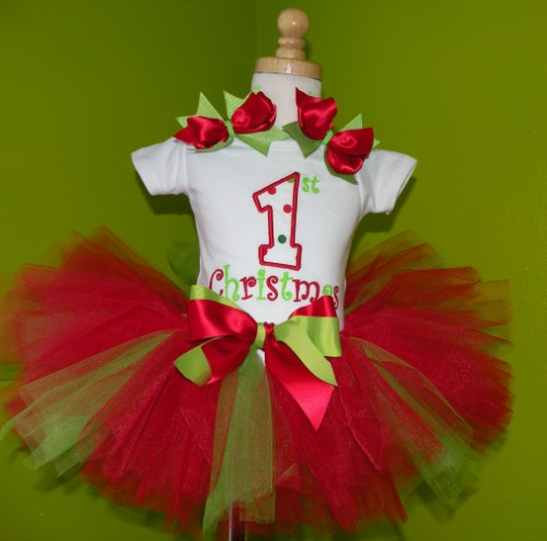 Personalized 1st Christmas Girls Holiday Clothing