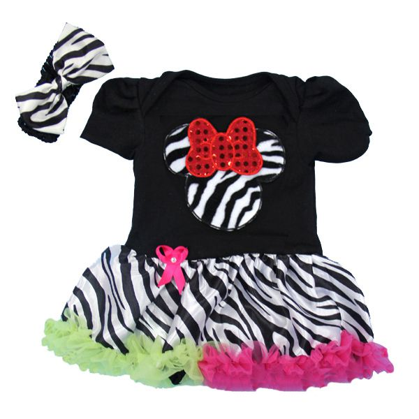 Funky Zebra Print Rainbow Girl Mouse 2 Piece Onesie Baby Tutu Outfit