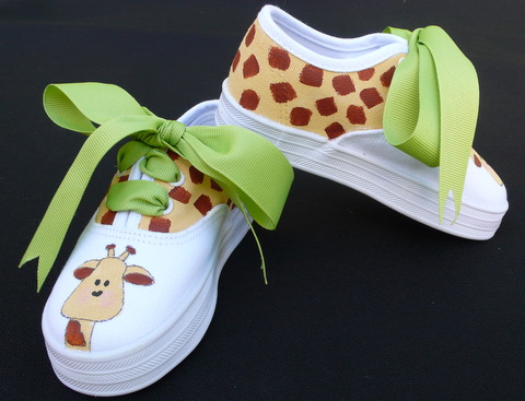 Giraffe Hand Painted Kids Shoes