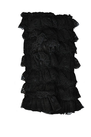 Black Lace Ruffled Legwarmers