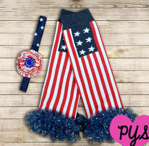 Fourth Of July Patriotic Flag Glittler Ruffled Legwarmers and Headband Set