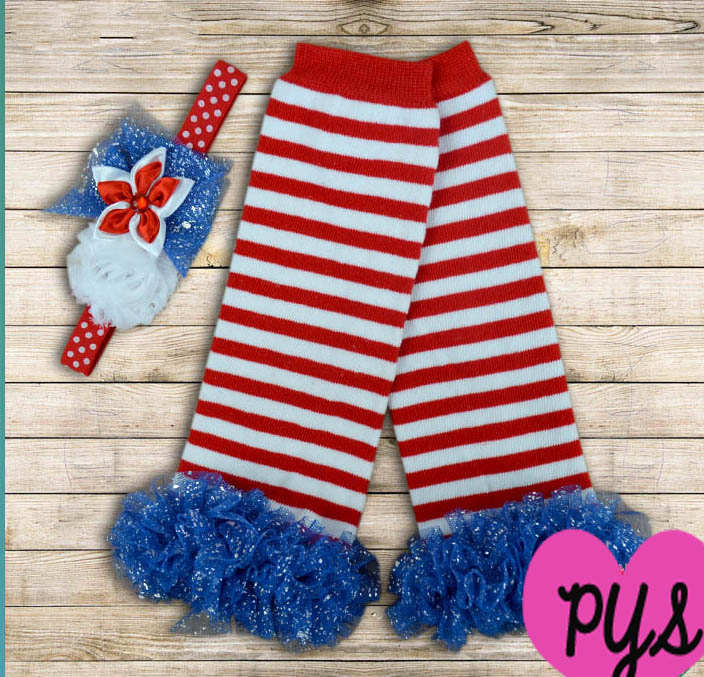 Red White and Blue Patriotic Striped Ruffled Legwarmers and Headband Set