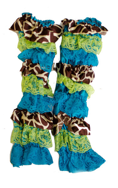 Blue and Green Giraffe Print Ruffled Legwarmers