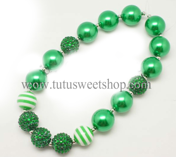Green and White Gumballs Holiday Chunky Girls Necklaces