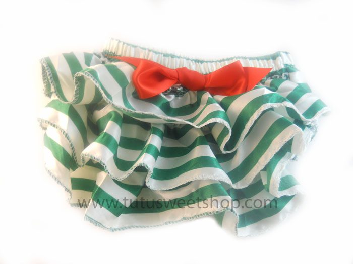 Green and White Candy Cane Stripe Ruffled Christmas Diaper Covers