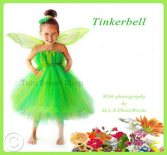Handmade Tinkerbell Inspired Tutu Dress Costume