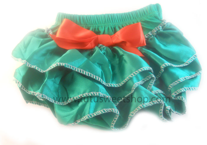Red and Green Satin Ruffled Christmas Diaper Covers