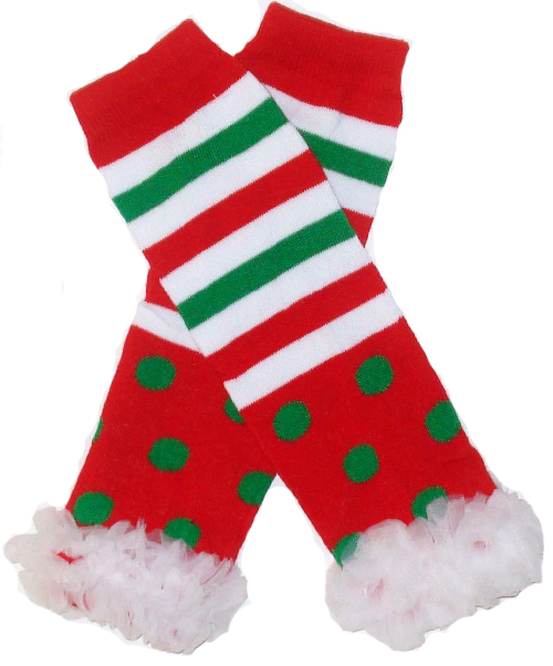 Red, Green and White Polka Dot and Stripes Ruffled Legwarmers