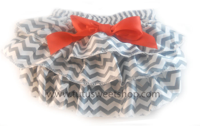 Grey, White and Red Chevron Ruffled Christmas Diaper Covers