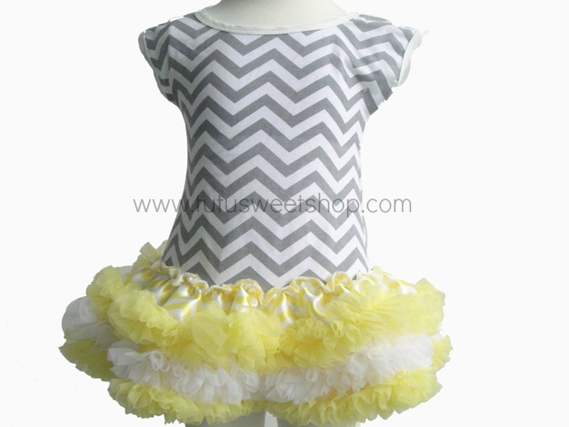 Yellow and Grey Chevron Petti Dresses for Girls