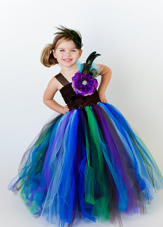 Peacock Halter Flower Girl Tutu Dress