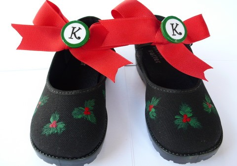 Holly Holiday Hand Painted Girls Shoes