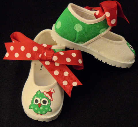 Santa Owl Hand Painted Girls Shoes