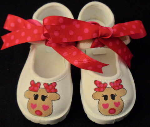 Reindeer Hand Painted Christmas Girls Shoes