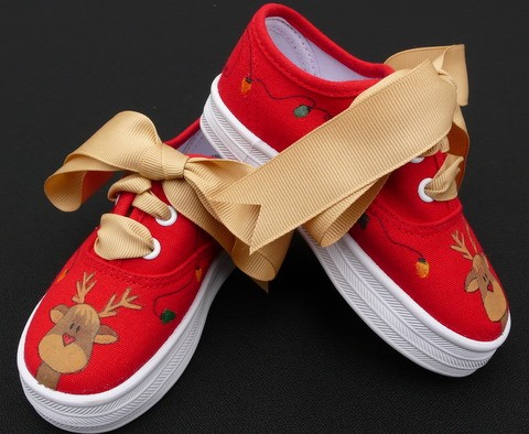 Rudolph Holiday Hand Painted Toddler Shoes