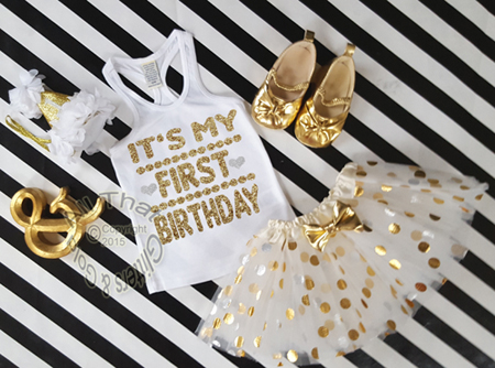 2pc White and Gold Glitter It's My Birthday Tutu Outfit Ages 1-6