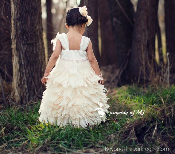 Exquisite Ivory Feather Dress For Girls