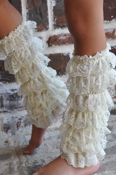 Ivory Lace Ruffled Legwarmers For Girls