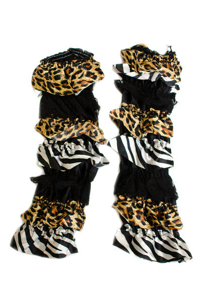 Leopard and Zebra Print Ruffled Legwarmers