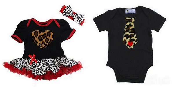 2 Piece Black Leopard Print Valentine's Day Boy and Girl Twins Baby Tutu Dress Outfit