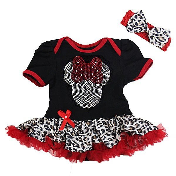 Leopard Print Bling Girl Mouse 2 Piece Onesie Baby Tutu Outfit