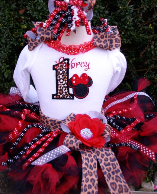 Personalized Leopard Print Minnie Birthday Tutu Outfit
