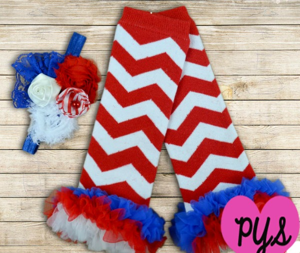 Red White and Blue Patriotic Chevron Ruffled Legwarmers and Headband Set