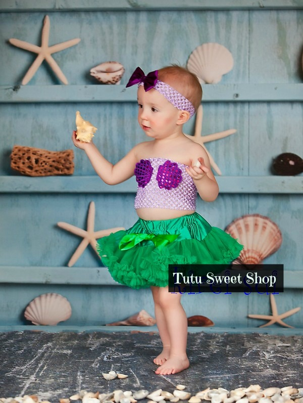 3 Piece Mermaid Tube Top Halloween Baby Tutu Outfit Costume
