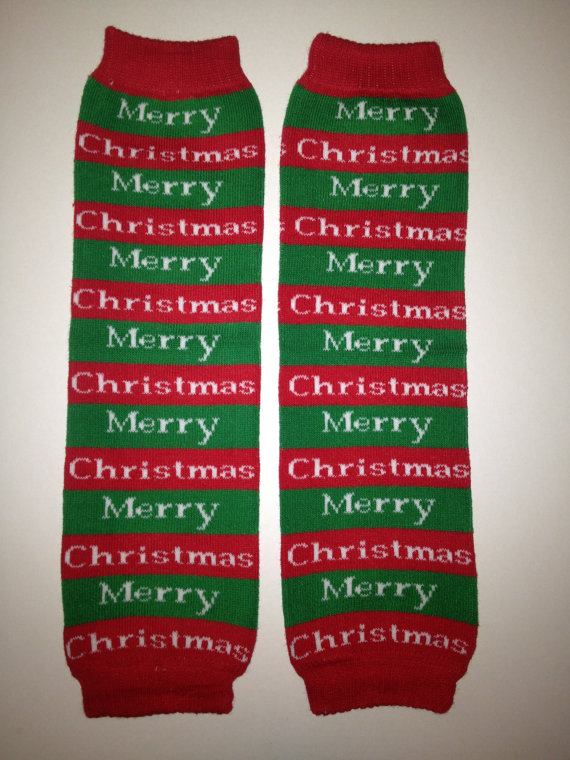 Kids Red and Green Merry Christmas Christmas Legwarmers