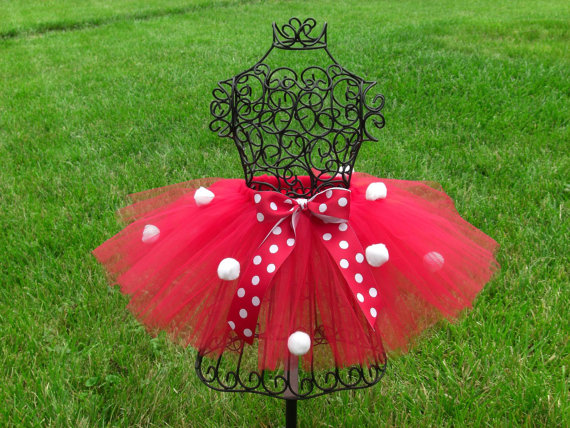Red and White Pom Pom Tutu Skirt
