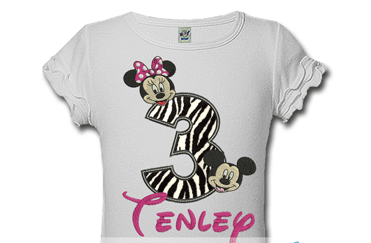 Zebra Print Mickey And Minnie Personalized Kids Birthday Shirts