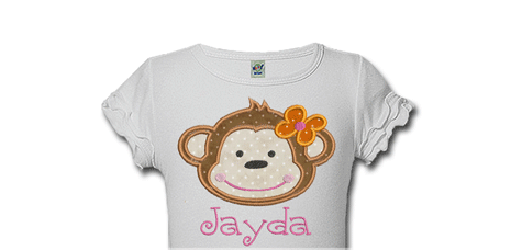 Monkey Girl Personalized Birthday Shirts