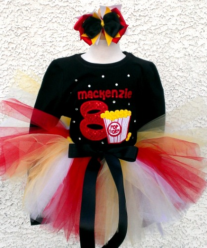 Embroidered Popcorn Movie Birthday Outfit For Girls
