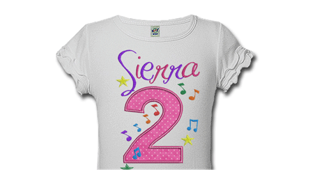 Music Notes Personalized Kids Birthday Shirts