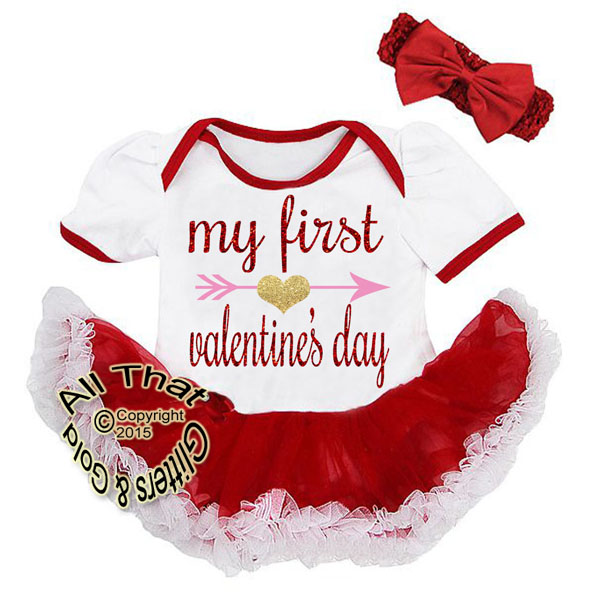 2 Piece Glitter My First Valentine's Day Baby Tutu Dress Outfit